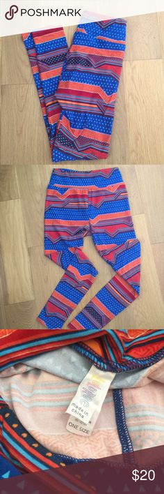 Lularoe orange red blue tribal heart OS leggings Excellent used condition. One size. Orange, red, and blue pattern with hearts, triangles, and stripes. LuLaRoe Pants Leggings