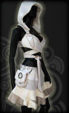 White 007 Leather Wrapping Top, Reversible, Detaching Hood. via Etsy.