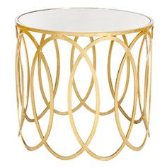 Worlds Away Olivia Gold Leafed Oval Side Table with Mirror Top WAOLIVIAG