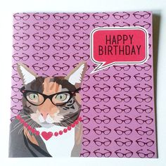 Cat with Glasses Purple Birthday Card by JayneyMac on Etsy, £2.00