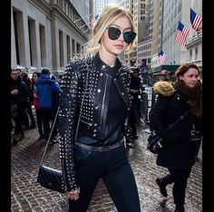 Leather jacket witch spikes street style rocker