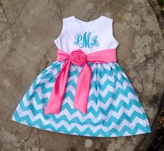 Girls Chevron Easter Dress Monogrammed Aqua blue and Bubblegum pink boutique outfit by SewChristi on Etsy https://www.etsy.com/listing/158086804/girls-chevron-easter-dress-monogrammed