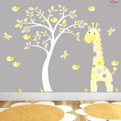 Giraffe Decal Yellow and Grey Jungle by EnchantedInteriorsUK