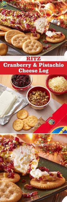Learn more at www.Nabisco115Moments.com! Pin Your Favorite NABISCO recipe for a chance to win $115…winner every day. Decorate the tree while savoring our RITZ Cranberry & Pistachio Cheese Log. Mix white cheddar and cream cheese then shape into a log. Roll it through dried cranberries and pistachios and serve with RITZ crackers for a delicious holiday treat. Mmmm!