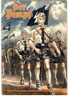A Hitler Youth Propaganda Recruitment Poster. Shows heroic realism through glorification of kids fighting in the war. Nazi Propaganda, Ww2 Posters, Political Posters, German Stamps, World War Two, Military History, Vintage Posters, Wwii, Adventure