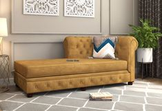 Grace of Chesterfield style and comfort of a big lounge makes Henry Chaise Lounge the perfect furniture for the modern living room. The furniture unit also flaunts the set-back rolled sides which pair well with the design. Buy Henry Chaise Lounge (Chestnut Brown) Online in India from Wooden Street #chaiselounge #chaiselounges #chaiselounger #chaiseloungechair #chaiseloungesofa