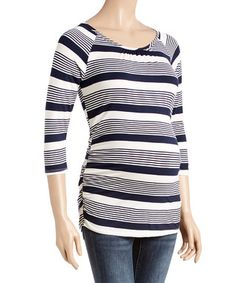Navy & Cream Stripe Lace-Back Ruched Maternity Top