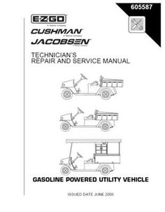 EZGO 605587 2006 Current Technician's Repair Manual for MPT 800, 1200CE, CARB by EZGO. $68.50. Please search ezgo manuals to find a manual for another vehicle.. Provides detailed and thorough information for the service and maintenance of your vehicles. Used for 2006-current gasoline powered cushman/jacobsen utility vehicle. This Service Parts Manual is for use with Gasoline Powered Cushman 327 and Perkins Diesel Powered Utility Vehicles