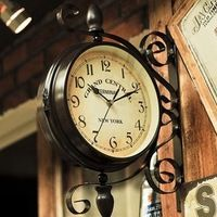 Ретро Настенные Часы Home Decor Европейский Стиль Металла Настенные Часы с Двойным Лицом Старинные Настенные Часы 40*40 См