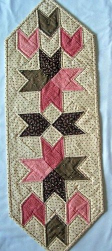 Tulip Block Table Runner in Cream, Pinks, and Browns w/ Outlining | PutmanLakeDesigns - Quilts on ArtFire
