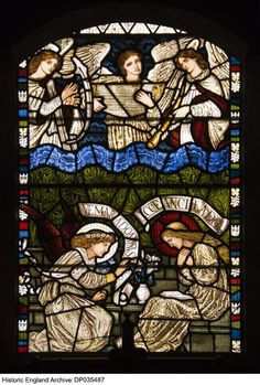 Detail view of a stained glass window from the Church of the Annunciation, Brighton, designed by Burne-Jones and made by William Morris. Photographer: James O Davies South East England, Historical Images, William Morris, Brighton, Stained Glass, Window, Detail, Design, Art