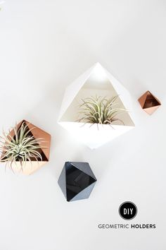DIY geometric holders: http://www.stylemepretty.com/living/2015/08/25/diy-geometric-holders/ | DIY: The Shift Creative - http://theshiftcreative.com/