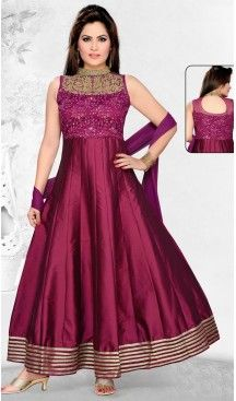 Wine Color and Silk Fabric Anarkali Ready Made Dress with Dupatta | FH447670406 #salwar, #kameez, #readymade, #anarkali, #patiala, #pakistani, #suits, #online, #stitched, #indian, #dress, #material, #shopping, #fashion, #boutique, #mode, @heenastyle