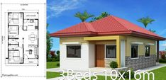 Home design with 3 bedrooms. House description: Number of floors 1 storey house bedroom 3 rooms toilet 2 rooms maid's room - room Parking outside useful space 84 sq. Line size around the house Round House Plans, Simple House Plans, Simple House Design, Bungalow Floor Plans, Modern Bungalow House, Flat Roof House Designs, Architect Design House, Affordable House Plans, Three Bedroom House Plan