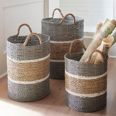 Grab these Jambi Baskets fast, because they'e made of everyone' favorite basket material: distinctive, richly colored seagrass (handwoven by skilled artisans). decor baskets of 3 Home Decor Accessories, Decorative Accessories, Decorative Baskets, Decorative Accents, Large Baskets, Seagrass Storage Baskets, Baskets For Storage, Creation Deco, Basket Decoration