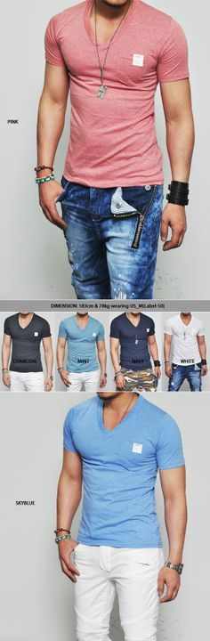 Slim V-neck Pocket-Tee - Urban style #fashion #style #menswear