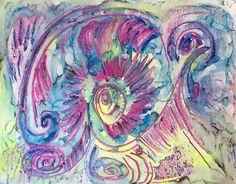 """Psychedelic Conch""; 11x14""; mixed media--crayon, gouache, watercolor, ink #watermedia #crayonart #mixedmediaart #gouache #watercolor #abstractexpressionism"