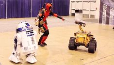 LUCAS FILM/MARVEL/DISNEY: DEADPOOL, R2D2 & WALL-E face off. I would love to see R2 distract Deadpool with a hologram of BEA ARTHUR  eating a Chimichanga.