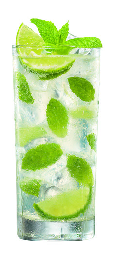 Mojito - Great for Summer party    Ice  6 ounces light rum  12 mint sprigs, or spearmint, 8 roughly broken apart  6 tablespoons fresh lime juice  4 tablespoons sugar  Club soda  4 slices lime    Directions    Place ice in beverage shaker then add in the rum, 8 broken up mint sprigs, lime juice and sugar. Shake well and serve over ice in a high ball glass. Top off each glass with a splash of club soda.    Garnish each with a slice of lime and a sprig of mint.