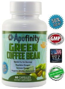 Pure Green Coffee Bean Extract by Apofinity, 600mg Green Coffee Extract Capsules with 50% Chlorogenic Acid from GCA. Pure Green Coffee Extract Supports Healthy Cholesterol and Speeds Up Fat Burning with 100% Natural Weight Loss