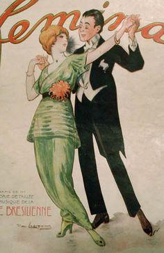 Vintage Artwork, Vintage Posters, Illustrations, Illustration Art, Dancing Drawings, Vintage Couples, Shall We Dance, Dance Art, Edwardian Fashion