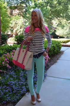 Hot Pink & Navy sweater & Mint Skinny's
