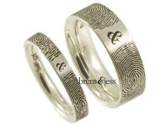 Double Finger Print Wedding Ring in 14K White Gold with Matte Center