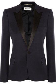 Saint Laurent Silk satin-trimmed wool blazer | NET-A-PORTER