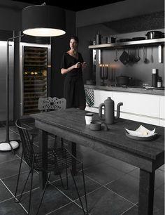 black kitchen - love this floor