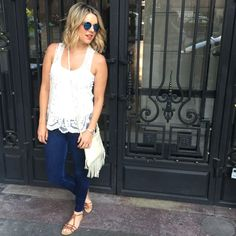 Ali Fedotowsky with her Meadow bag in birch