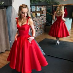 Elegant A-Line Spaghetti Straps Ball Gown,Red Tea Length Prom Homecoming Dress · SexyPromDress · Online Store Powered by Storenvy