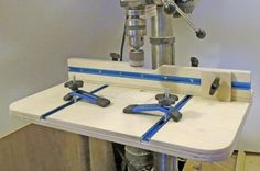 DIY Woodworking Drill Press Table Plans DIY Woodworking Drill Press Table Plans<br> Check out David Radtke's shop-made drill press table plans. This DIY woodworking project will add tons of versatility to your drill press. Woodworking Patterns, Easy Woodworking Projects, Woodworking Videos, Woodworking Tools, Woodworking Jigsaw, Woodworking Techniques, Woodworking Furniture, Drill Press Stand, Drill Press Table
