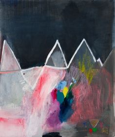 Miranda Skoczek / bright colorful abstract painting / looks like mountains