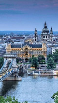Budapest, the river Danube, the Chain Bridge the Gresham Palace and the St. Stephen's Basilica, in the the blue hour _ Budapest, a duna folyó a Lánchíd a Gresham palota és a Szent István bazilika a kék órában Places Around The World, Oh The Places You'll Go, Travel Around The World, Places To Travel, Places To Visit, Around The Worlds, Wonderful Places, Beautiful Places, Wachau Valley