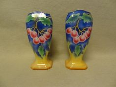 Art Deco English Art Pottery Vases Cherry Decorations by TFSloan, $125.00