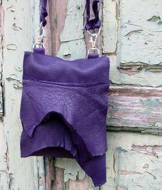 Deep Velvety Violet Deerskin Belt Bag or Small Purse by stacyleigh