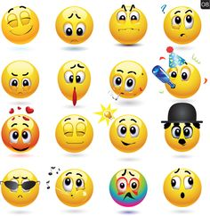 Funny yellow smile face vector icons 08