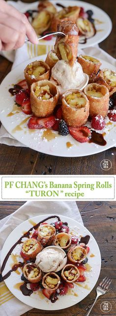 PF Changs Banana Spring Rolls Turon Recipe (with langka or jackfruit) Philipinische Desserts, Filipino Desserts, Chinese Desserts, Filipino Food, Filipino Recipes, Appetizer Dishes, Appetizer Recipes, Party Appetizers, Italian Appetizers