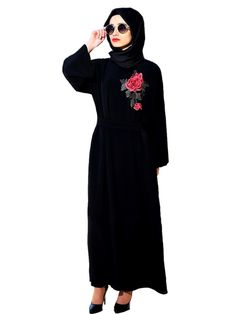 9076b69d45c43 Muslim Women Elegant black hooded Abaya Dress Embroidery Flower Maxi Burka  Islamic Price  33.00  amp