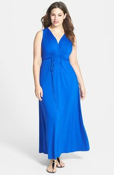 Calvin Klein Pleated V-Neck Jersey Maxi Dress (Plus Size) available at #Nordstrom