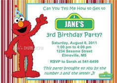 Elmo Birthday Invitation Sesame Street Stripes with Photo and Background Options Customizable Printable on Etsy, $14.00