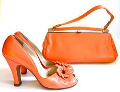 1940's Creamsicle shoes and handbag  Dorothea's Closet Vintage  Too Stinkin' Cute!  Everything Old is new again...