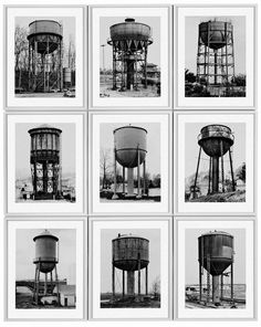 Bernd and Hilla Becher have photographed since 1960 all types of industrial facilities by providing them with quality design aesthetic that is usually overlooked and giving them a magical appearance of a complex mixture of naivete photographic, technical precision and artistic strategy.