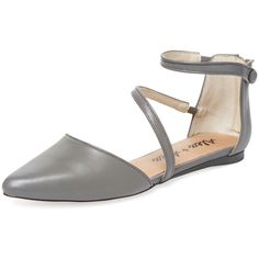 Alex + Alex Luna Ankle-Wrap Flat ($69) ❤ liked on Polyvore featuring shoes, flats, grey, gray flats, pointed-toe flats, leather pointed toe flats, flat shoes and pointed-toe ankle-strap flats