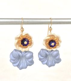 Trumpet Lily Earring - Blue Flower Earring - Hand Painted Earring - Gold Lucite Earrings - Orchid Earrings - Flower Jewelry- Botanical Jewel by PureBlissJewelry on Etsy Flower Earrings, Gold Earrings, Flower Jewelry, Drop Earrings, Trumpet Lily, Jewelry Accessories, Unique Jewelry, Blue Flowers, Orchids