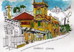 Casa de las afueras de Rapallo. Acuarela 15 x 21 cm. En venta. #rapallo #villas #liguria #watercolor