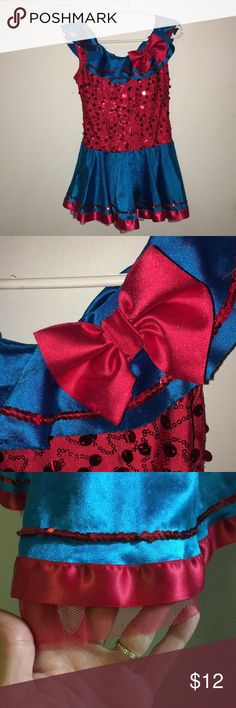 Curtain Call Costumes child Sz S red & blue sequin This beautiful costume is in very good condition. There is very slight pilling which can't really be seen when worn. Tag says child small/medium and it has a lot of stretch. My daughter wore when she was 3 all the way through age 5. Tulle underneath. Curtain Call Costumes Costumes Dance
