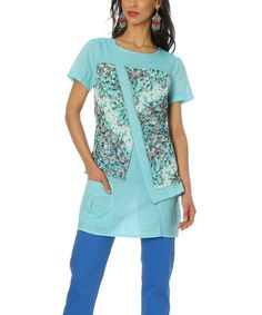 Look what I found on #zulily! Turquoise Floral Pocket Tunic - Women & Plus #zulilyfinds