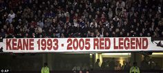 Sign of the times: The United fans show Keane their gratitude with a banner at Old Trafford