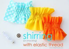 how to shir fabric shirring, smocking, elastic thread, sewing tutorial, sewing technique Sewing Basics, Sewing Hacks, Sewing Tutorials, Sewing Crafts, Sewing Projects, Sewing Patterns, Sewing Tips, Tutorial Sewing, Skirt Patterns
